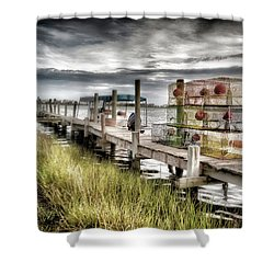 Crabber's Dock, Surf City, North Carolina Shower Curtain