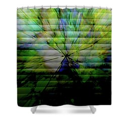 Cracked Abstract Green Shower Curtain