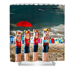 Shower Curtain featuring the photograph Cracked V - The Life Guards by Chris Armytage