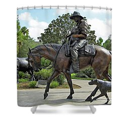 Cracker Cowboy And His Dog Shower Curtain by D Hackett