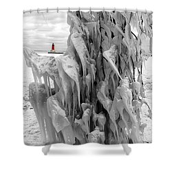 Shower Curtain featuring the photograph Cradled In Ice - Menominee North Pier Lighthouse by Mark J Seefeldt