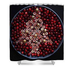 Cranberry Christmas Tree Shower Curtain