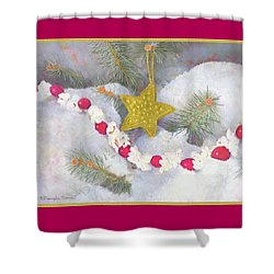 Shower Curtain featuring the painting Cranberry Garland With Gold Christmas Star by Nancy Lee Moran