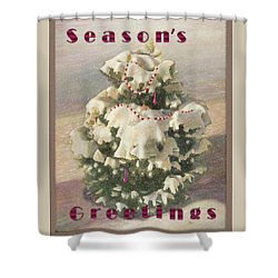 Shower Curtain featuring the painting Cranberry Garlands Christmas Blue Spruce by Nancy Lee Moran