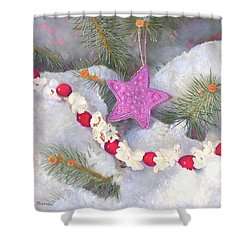 Shower Curtain featuring the painting Cranberry Garlands Christmas Star In Orchid by Nancy Lee Moran