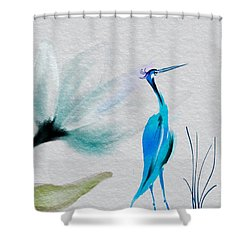 Crane And Flower Abstract Shower Curtain by Frank Bright