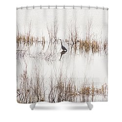 Crane In Reeds Shower Curtain