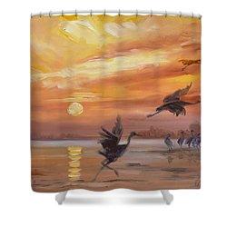 Cranes - Golden Sunset Shower Curtain by Irek Szelag
