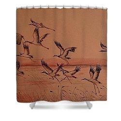 Cranes Shower Curtain by Maja Sokolowska