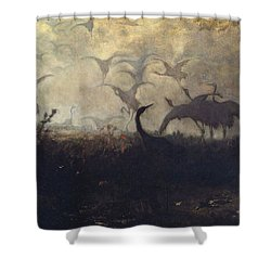 Cranes Take Off Shower Curtain by Jozef Marian Chelmonski