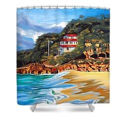 Crash Boat Beach Shower Curtain by Milagros Palmieri