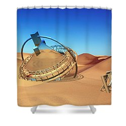 Crash Space Craft In The Desert Shower Curtain