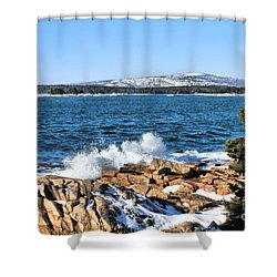 Shower Curtain featuring the photograph Crashing Acadia Waves by Debbie Stahre