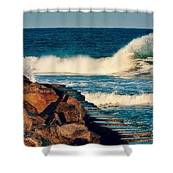 Shower Curtain featuring the photograph Crashing Against The Cove Rocks by Kelly Nowak
