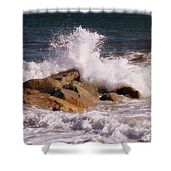 Shower Curtain featuring the photograph Crashing Surf On Plum Island by Eunice Miller