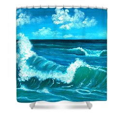 Shower Curtain featuring the painting Crashing Wave by Anastasiya Malakhova