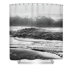 Shower Curtain featuring the photograph Crashing Wave At Beach Black And White  by John McGraw