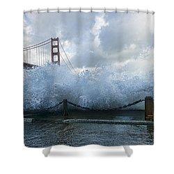Shower Curtain featuring the photograph Crashing Wave Golden Gate Bridge King Tide by Steve Siri