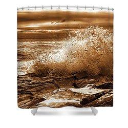 Crashing Wave Hdr Golden Glow Shower Curtain