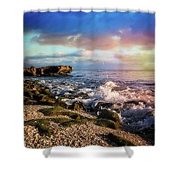 Shower Curtain featuring the photograph Crashing Waves At Low Tide by Debra and Dave Vanderlaan