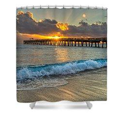 Crashing Waves At Sunrise Shower Curtain by Debra and Dave Vanderlaan