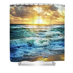 Shower Curtain featuring the photograph Crashing Waves Into Shore by Debra and Dave Vanderlaan