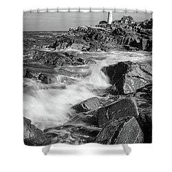 Crashing Waves, Portland Head Light, Cape Elizabeth, Maine  -5605 Shower Curtain