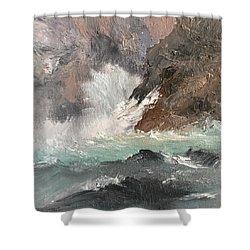 Crashing Waves Seascape Art Shower Curtain