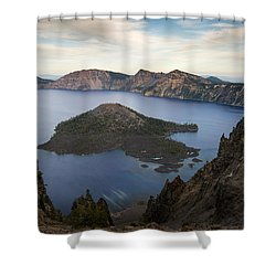 Crater Lake At Sunset Shower Curtain