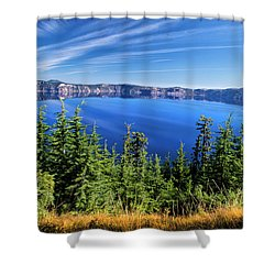 Shower Curtain featuring the photograph Crater Lake Rim Reflections by Frank Wilson