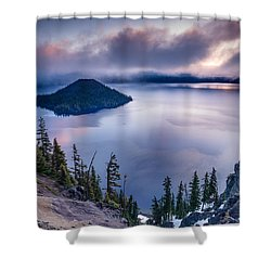Crater Lake Spring Morning Colors Shower Curtain