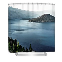 Shower Curtain featuring the photograph Crater Lake Under A Siege by Eduard Moldoveanu