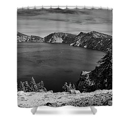 Shower Curtain featuring the photograph Crater Lake View In Bw by Frank Wilson