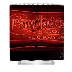Shower Curtain featuring the photograph Craw Daddy Neon Sign by Steven Spak