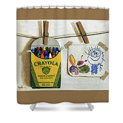 Box Of Crayons And Child's Drawing Realistic Still Life Painting Shower Curtain