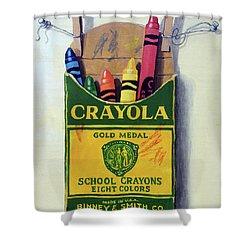 Shower Curtain featuring the painting Crayola Crayons Painting by Linda Apple