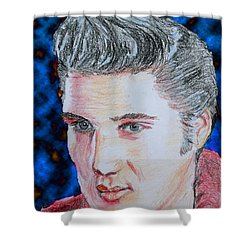 Shower Curtain featuring the drawing Crayon Elvis by Lyric Lucas