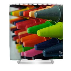 Shower Curtain featuring the photograph Crayons by Chad and Stacey Hall