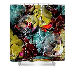 Shower Curtain featuring the digital art Crazy Abstract World By Nico Bielow by Nico Bielow