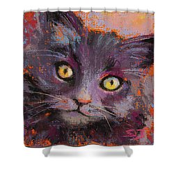 Crazy Cat Black Kitty Shower Curtain