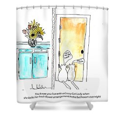 Crazy Cat Lady 0002 Shower Curtain by Lou Belcher