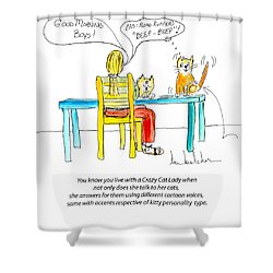 Crazy Cat Lady 0009 Shower Curtain by Lou Belcher