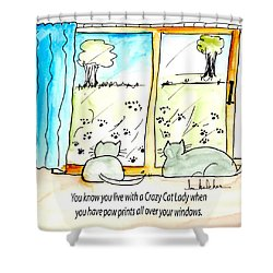 Crazy Cat Lady 0010 Shower Curtain by Lou Belcher