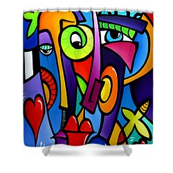 Crazy Hearts Shower Curtain