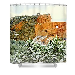 Crazy Horse Memorial In The Snow Shower Curtain by Clarice Lakota