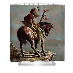 Crazy Horse_digital Study Shower Curtain