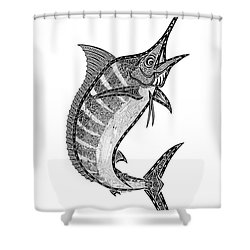 Crazy Marlin Shower Curtain by Carol Lynne