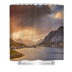 Crazy Sunset In Lofoten Shower Curtain