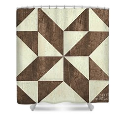 Shower Curtain featuring the painting Cream And Brown Quilt by Debbie DeWitt