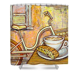 Cream Electra Town Bicycle With Cappuccino And Biscotti Shower Curtain